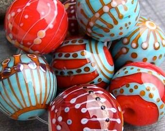 MruMru Handmade Lampwork Glass Bead  set. ROBIN. Sra.