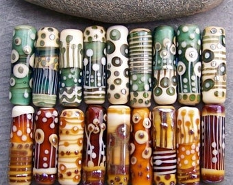 MruMru Handmade Lampwork Glass Bead. Tube focal. Mix and Match Tubes.  Sra.