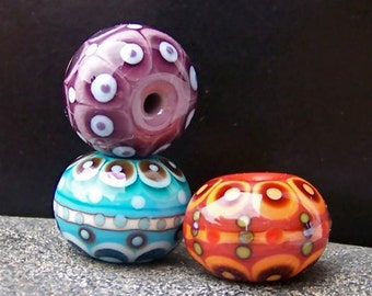 Trio. MruMru Handmade Lampwork Glass Bead set. Focals. Sra.
