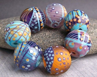 MruMru Handmade Lampwork Glass Bead set. Purple, Turquoise. Sra.