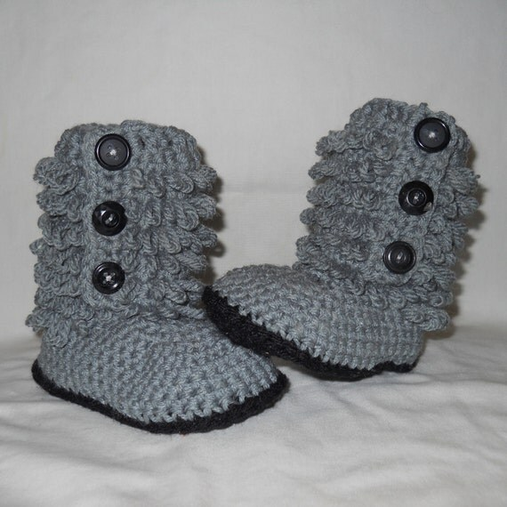 Cutie Bootie - Crocheted Gray Ugg Style Baby Boots - 6 to 12 Months Size, Furrylicious Pattern Finished Boots