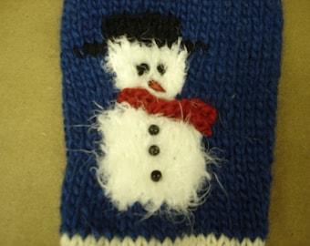 Hand Knitted Woolen Snowman Christmas Stocking