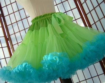 Pettiskirt Chartreuse Green and Turquoise Size Large Custom