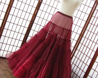 Petticoat Garnet Red Chiffon Floor Length Single Layer Size Medium Custom