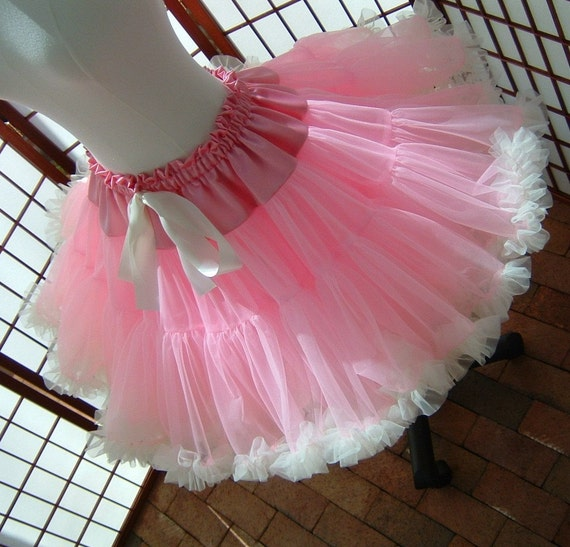 Pettiskirt Pink and Ivory Size X-Large Custom