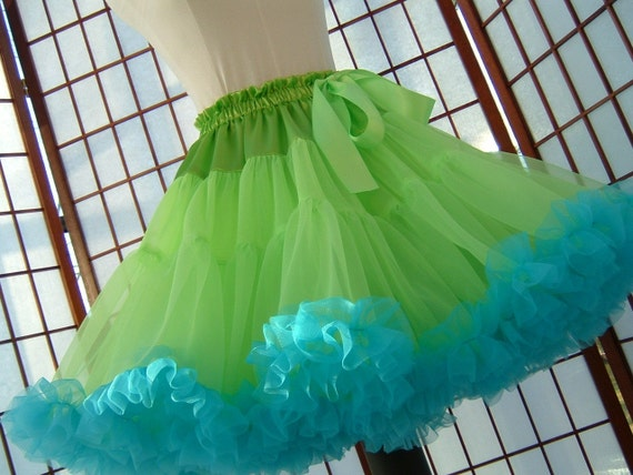 Pettiskirt Chartreuse Green and Turquoise Size Medium Custom