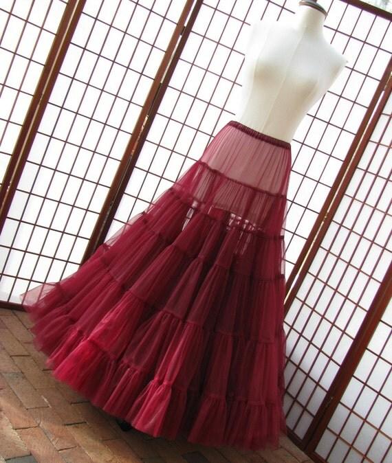 Petticoat Garnet Red Chiffon Floor Length Single Layer Size Large Custom