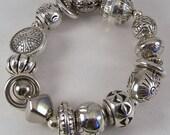 Chunky Silver n Rings Bracelet.. Silver Plated Beaded Stretch Bracelet
