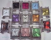Large Rectangle.. Watch Face, Ribbon, Solid Bar, Interchangeable, Removable, Stainless, Silver Plated