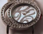 Rhinestone Oval.. Interchangeable Eliptical Watch Face with Rhinestones