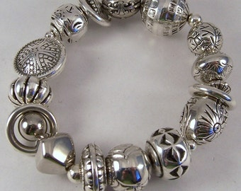 Chunky Silver n Rings Bracelet.. Silver Plated Beaded Stretch Bracelet