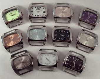Mini Squashed.. Oval Ribbon, Solid Bar Watch Face, Interchangeable, Silver Plated and Stainless Steel