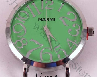 Large Round.. Big and Bold Solid Bar Watch Face, Silver Plated, Pink, Green, Brown