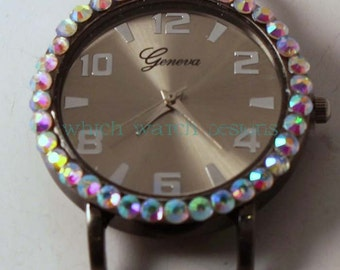 Small Round Bling.. Interchangeable Silver, Pewter or Gold Watch Face with Rhinestones, Beaded Watches
