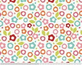 Zoe Pearn Fabric, Alphabet Soup Girl, Floral, White, 1 Yard
