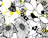 NEW Robert Kaufman Night and Day 2, Retro Floral Yellow\/Black, 1 Yard
