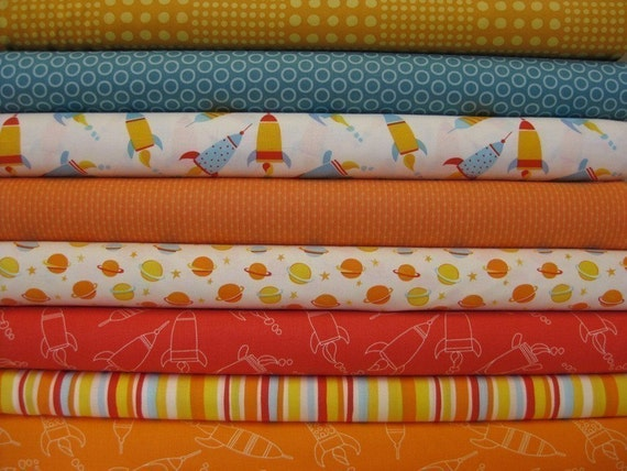 Baby boy quilt fabric set space red blue orange 1 2 yard for Space baby fabric