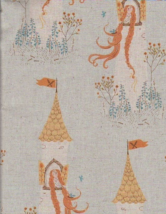 Heather Ross Fabric, Far Far Away 2, Rapunzel, Light Blue, 1 Yard