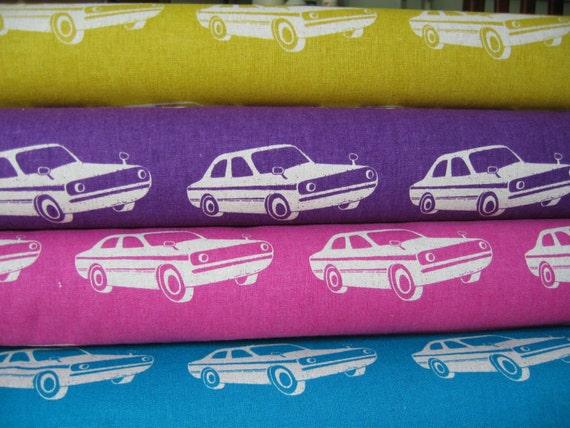 Echino Ni-co Car Fat Quarter Set, 1 of each, 4 total Japanese Import Fabric Echino from Designer Etsuko Furuya