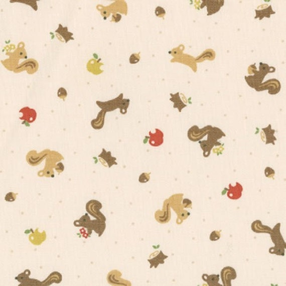 New Japanese Import Fabric from Kokka, Squirrels, Cream, 1 Yard