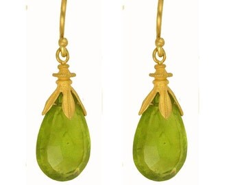 18k Gold and Peridot Drop Earrings using 100 percent recycled gold MADE TO ORDER