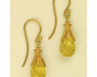 18k gold Lime Citrine Drop Earrings MADE TO ORDER using 100 percent recycled gold