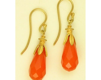 18k gold Carnelian Drop Earrings using 100 percent recycled gold MADE TO ORDER