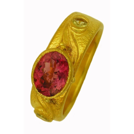 22k gold Ashnie Ring with Pink Tourmaline and Chrysoberyl MADE TO ORDER