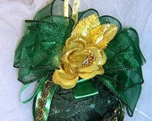 VICTORIAN CHRISTMAS ORNAMENT Style Green Brocade and Velvet Heirloom Ornament with  Elegant Gold Rose amd Jeweled Trim