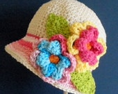 Flapper Hat  Crochet Cloche - Girls - Cream and Pink  - any kids size