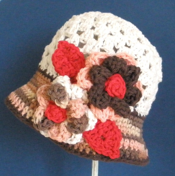 Oatmeal Girls Hat - Cloche hat - Flower Hat -  Baby Girl Hat - Toddler Hat - Red Brown Linen - Any Kids Size