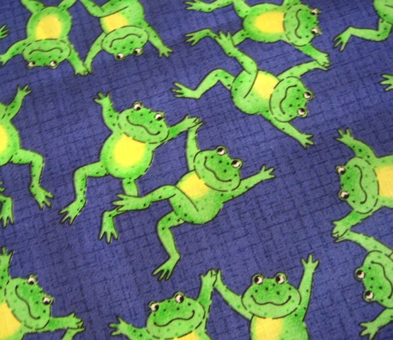 Reserved for Janice - Frogs Fabric - Dancing Froggies on Purple Fabric