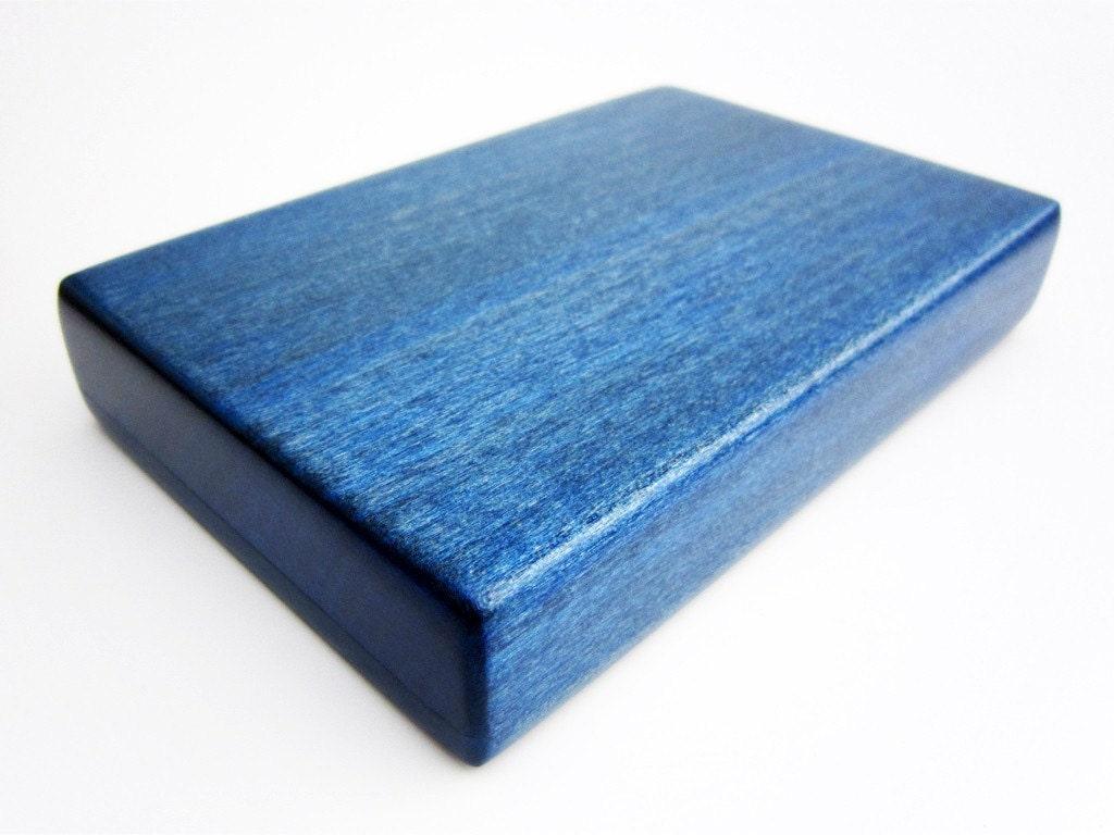 Blue wood external gb portable hard drive case