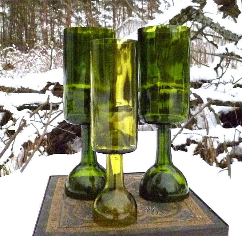 Upcycled Wine Bottle Candle Holders Set Of Three