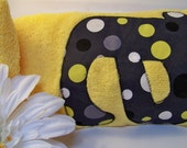 Olive and Maude Original Hooded Towel in Lolli Dot Citron & Gray by Michael Miller