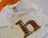 Olive and Maude Original Personalized Hospital Kimono Tee In Little Man Plaid