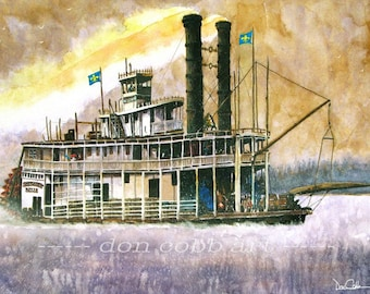 New Orleans Riverboat Steamboat Art Print Signed and Numbered