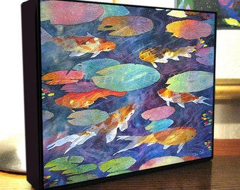 "Koi Fish Art ""Koi Fish Pond"" 8x10x1.5"" and 11x14x1.5"" Gallery Wrap Canvas Print Signed and Numbered"