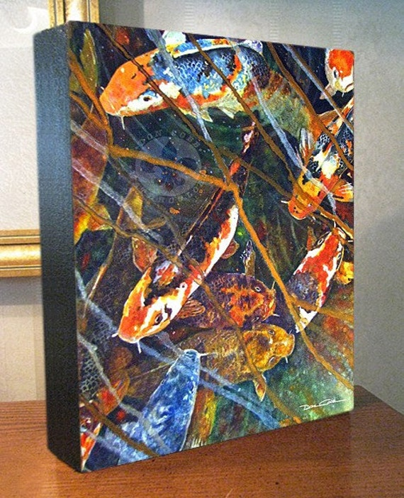 "Koi Fish Art ""Koi Fish Blues"" 8x10x1.5"" and 11x14x1.5"" Gallery Wrap Canvas Print Signed and Numbered"