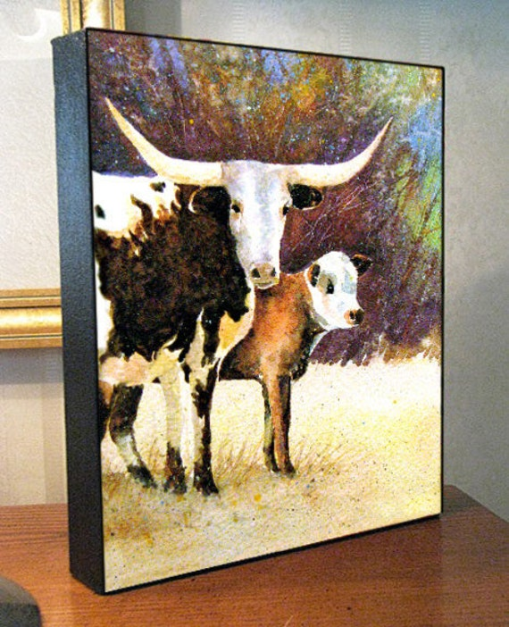 """Cow Art - Texas Longhorn Mama Cow - 8x10x1.5"""" and 11x14x1.5"""" Canvas Print on Gallery Wrap"""