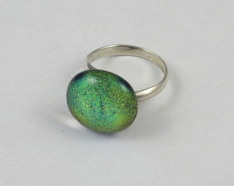 Yellow Green Dichroic Fused Glass Sterling Silver Adjustable Ring