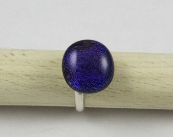 Purple Dichroic Fused Glass Sterling Silver Ring