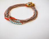 smågodis collection: blåbär (pink version) - a vintage glass beaded necklace by budpnq