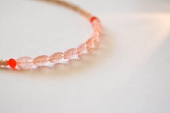 smågodis collection: persika (light tan version) - a vintage glass beaded necklace by budpnq