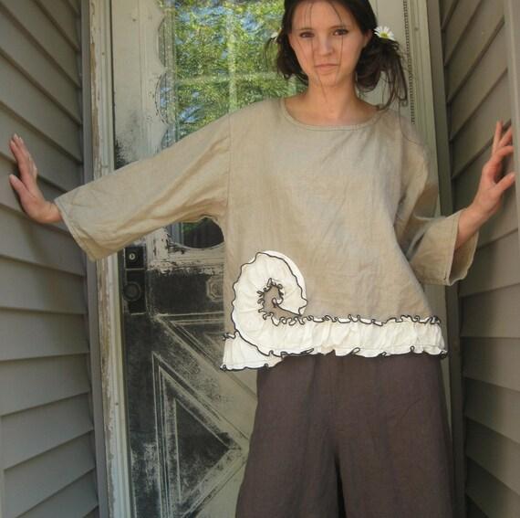 Natural Linen Cropped Swirl Shirt M