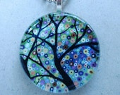 Impressionist Flower Garden by trmackstudio on Etsy, Glass  pendant 1 1\/4 Inch Round , Wearable Art