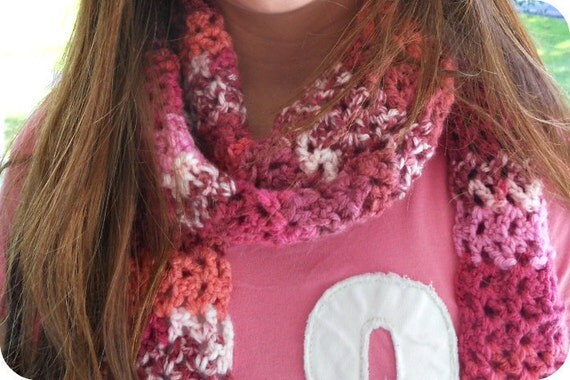 Shades of Pink Crocheted Pink Scarf