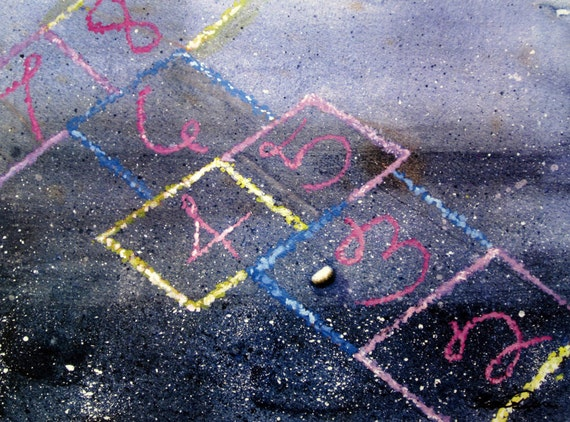 Hopscotch Fun Print Sidewalk Chalk Game 8 x 10