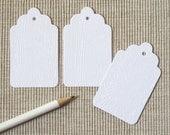 8 Holiday Gift Tags - White Woodgrain Christmas Tags (Set of 8)