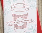 SALE - 6 Coffee Letterpress Christmas Cards - Holiday Cards (Set of 6)